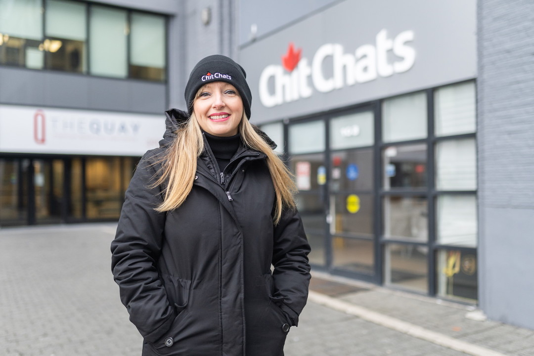 Carly Wood outside Chit Chats branch