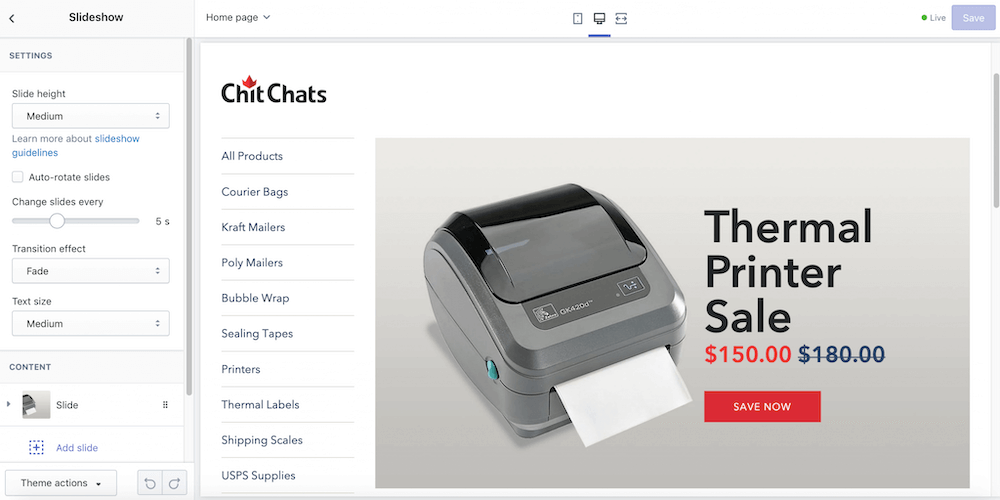 Screenshot of Shopify editor