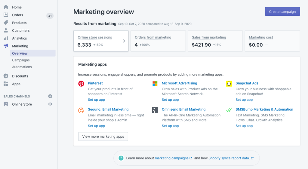 View of the Shopify Marketing dashboard showing marketing results and available marketing apps